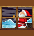 santa delivery gift outside window vector image