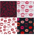 Set of 4 seamless patterns with lipstick kisses vector image