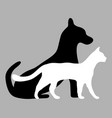 silhouettes a cat and a dog vector image