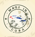 Stamp with map flag of Cuba vector image vector image