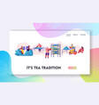 tea pickers website landing page characters vector image vector image