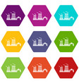 tower of chemical factory icons set 9 vector image vector image