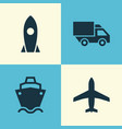 transportation icons set collection of tanker vector image vector image