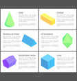 triangular and pentagonal prisms geometric set vector image vector image