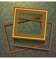 Vintage golden frames on floral background vector image