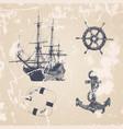vintage hand drawn ocean set vector image vector image