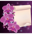 Greeting card with exotic flower orchid and paper vector image