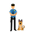 policeman character in a blue uniform standing vector image