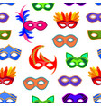 cartoon carnival mask background pattern on a vector image