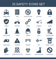 25 safety icons vector image vector image