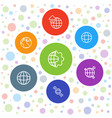 7 globe icons vector image vector image