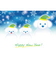a new years card with doggy snowmen vector image