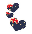 australia flag shaped hearts on white background vector image