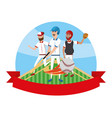 baseball players cartoon vector image