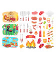 bbq party barbecue and people vector image vector image