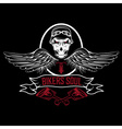 biker theme label with pistons and skulls with vector image vector image