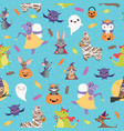 blue halloween friends seamless pattern vector image vector image