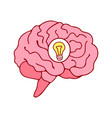 brain icon with bulb idea concept cartoon style vector image