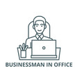 businessman in office at table with line icon vector image vector image