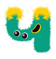 cartoon cute yellow and green monster number four vector image vector image