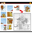 cartoon dogs and cats jigsaw puzzle game vector image