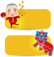 Chinese New Year label man with smile mask and vector image vector image