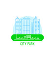 city park with thin line landscape vector image vector image