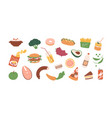 colored food icons healthy and fast food vector image