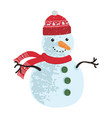 colorful winter snowman vector image