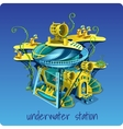 Complex underwater station on a blue background vector image vector image
