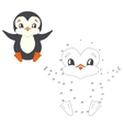 Connect the dots game penguin vector image
