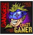 Crazy Gamer - Emblem for T-Shirt vector image