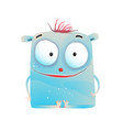 cute little blue kids monster vector image vector image
