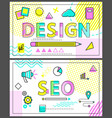 design and seo banners with linear figures set vector image vector image