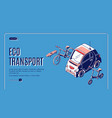 eco transport isometric landing friendly energy vector image vector image