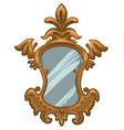 elegant vintage mirror with carvings luxury design vector image