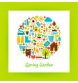 Flat Circle Spring Garden Objects over white Paper vector image vector image
