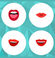 flat icon mouth set of smile tongue pomade and vector image vector image