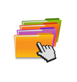 folder and hand cursor vector image vector image