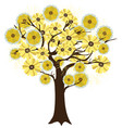 golden flowers tree vector image vector image