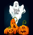halloween trick or treat greeting card vector image