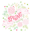 hand drawing lettering quote - spring is coming vector image