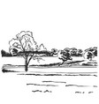 hand drawn doodle landscape fields sketch vector image vector image