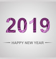 happy new year 2019 with paper cut shapes vector image vector image
