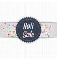Holi Sale blue Emblem with white Ribbon vector image vector image