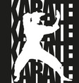 karate text and silhouette vector image vector image