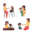 mother feeding her baby son daughter sitting vector image vector image