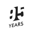 ninety five years emblem template vector image