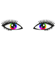 Pair of bright rainbow eyes vector image vector image