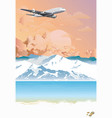 passenger plane flying over mountains at dawn vector image vector image
